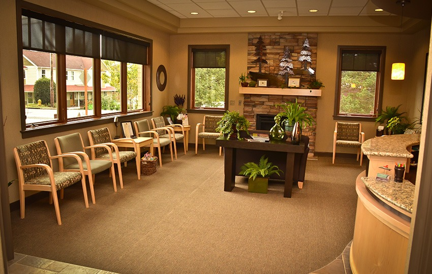 Comfortable dental office waiting area